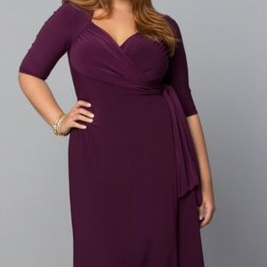 Kiyonna wrap dress in Berry w/sweetheart neckline